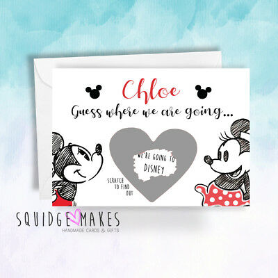 Surprise we are going to Disney Scratchcard reveal Personalised micky minnie 2