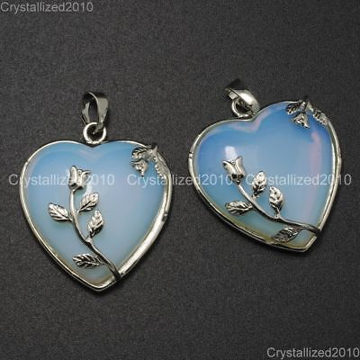 Natural Gemstone Heart Silver Plated Flower Reiki Chakra Pendant Charm Beads 5
