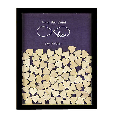 Personalized Engraved Love Rustic Drop Top Wooden Wedding Guest Book