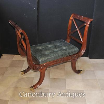 Pair Regency Stools Seats in Mahogany Day Chair 5