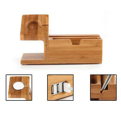 Watch Stand for Apple,Bamboo Wood Docking Station Holder For iWatch/Card/iPhone
