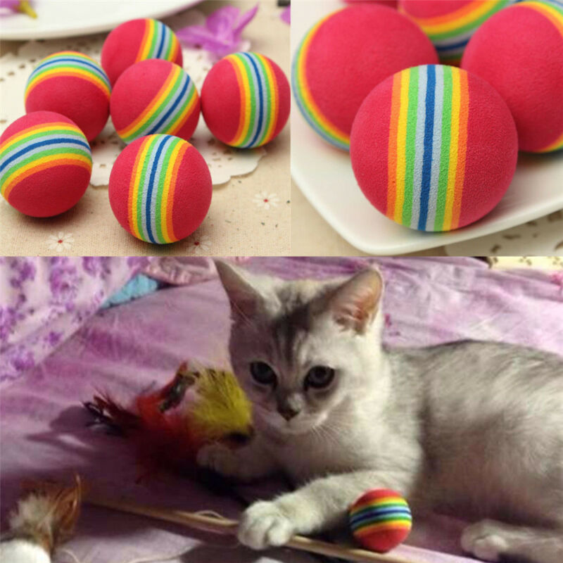 6pcs Pet Cat Kitten Soft Foam Rainbow Play Balls Colorful Funny Activity Toys 3