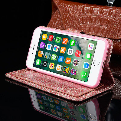 Bling Glitter Magnetic Flip Cover Stand Wallet Leather Case For iPhone 6s 5s 7 8 3