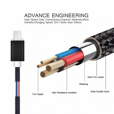 FAST CHARGING Android Charger Micro USB Cable Premium Braided Samsung Galaxy 6 7 7