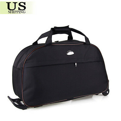 """24"""" Rolling Wheeled Duffle Trolley Bag Tote Carry On Travel Suitcase Luggage 5"""