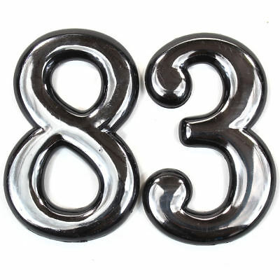 """Self Adhesive Door Numbers Chrome Finish 4"""" Number 2"""" Letter House Apartment 10"""
