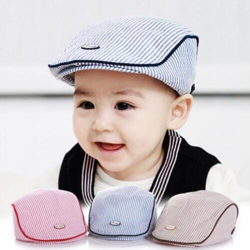 Baby Kid Infant Stripe Beret Cap Peaked Baseball Hat Casquette Peaked Beanie Cap