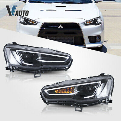 VLAND Fit For Mitsubishi Lancer / EVO X LED HeadlightS Lamp Pair Set Assembly 9