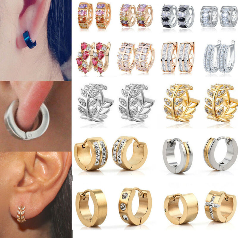 1 Pairs Fashion Women/Men Stainless Steel Hoop Earrings Circle Round Jewelry 2