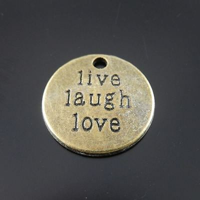 30X Vintage Style Bronze Tone Live Laugh Life Motto Pendant Charms 19*19*2mm 6