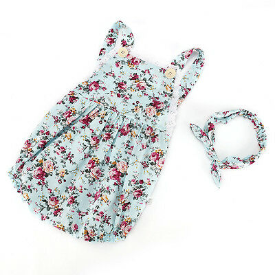 2pcs Newborn Baby Girls Floral Headband+Bodysuit Romper Jumpsuit Outfits Clothes 2
