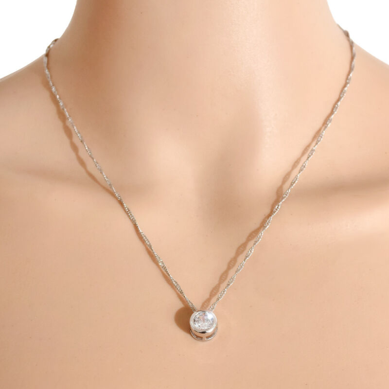 Fashion Women Round Single Crystal Rhinestone Silver Pendant Necklace Jewelry 6