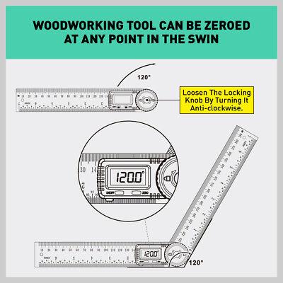 200mm Digital Angle Finder Ruler Protractor Measure Meter Stainless Steel 0-360° 8