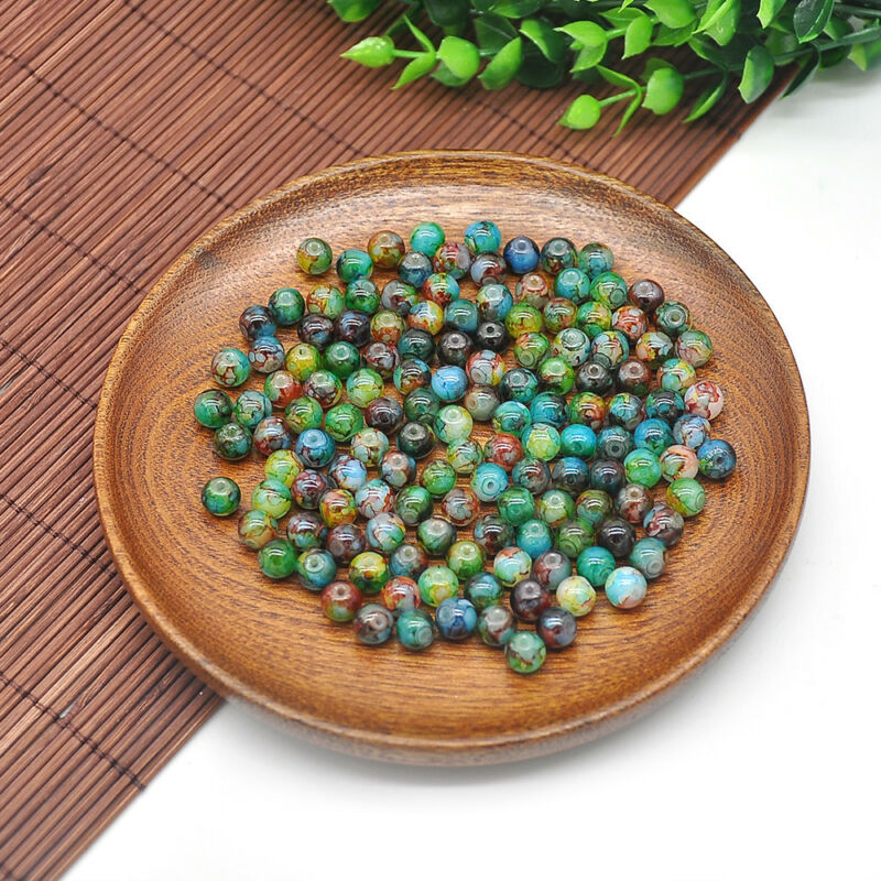 30Pcs 8mm Double Color Glass Pearl Round Spacer Loose Beads For Jewelry Making 6