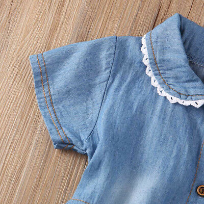 Kids Baby Girls Short Sleeve Princess Dress Outfit Denim Party Sundress Clothes 5