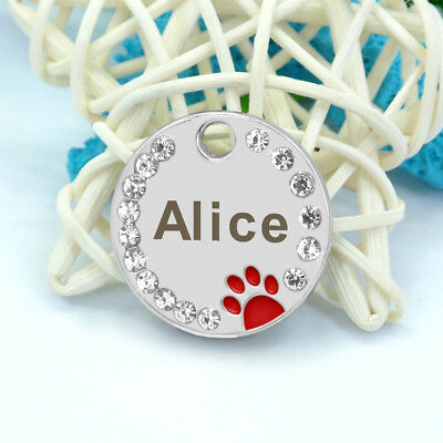 Personalized Dog Tags Paw Rhinestone Pet Cat ID Name Tag Engraved Free Hair Bows 6