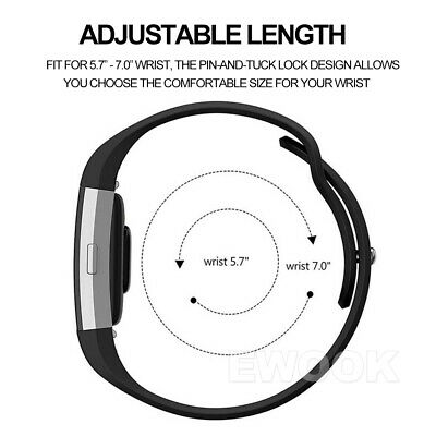 For Fitbit Charge 3 Bands Soft Silicone Adjustable Replacement Sport Strap Band 6