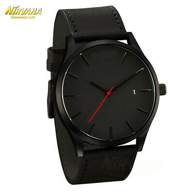 Men's Fashion Sport Stainless Steel Case Leather Band Quartz Analog Casual Watch 8