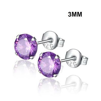Fashion Woman Silver Plated Round Cubic Zirconia Crystal Stud Earrings Jewelry 8