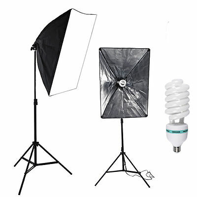 2x 135W Continuous Lighting Softbox Photography Studio Soft Box Light Stand Kit 4