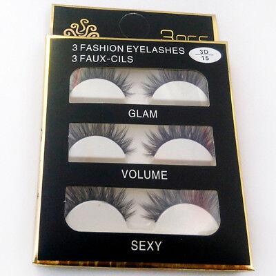 3 Pairs 100% Real 3D Mink Makeup Cross False Eyelashes Eye Lashes Handmade 5
