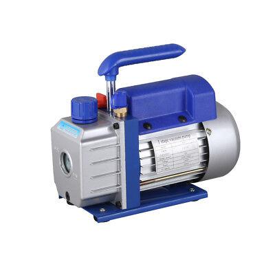 Single Stage Vacuum Pump Rotary Vane 2.5CFM 1/4HP Deep HVAC AC Air Tool Blue New 8