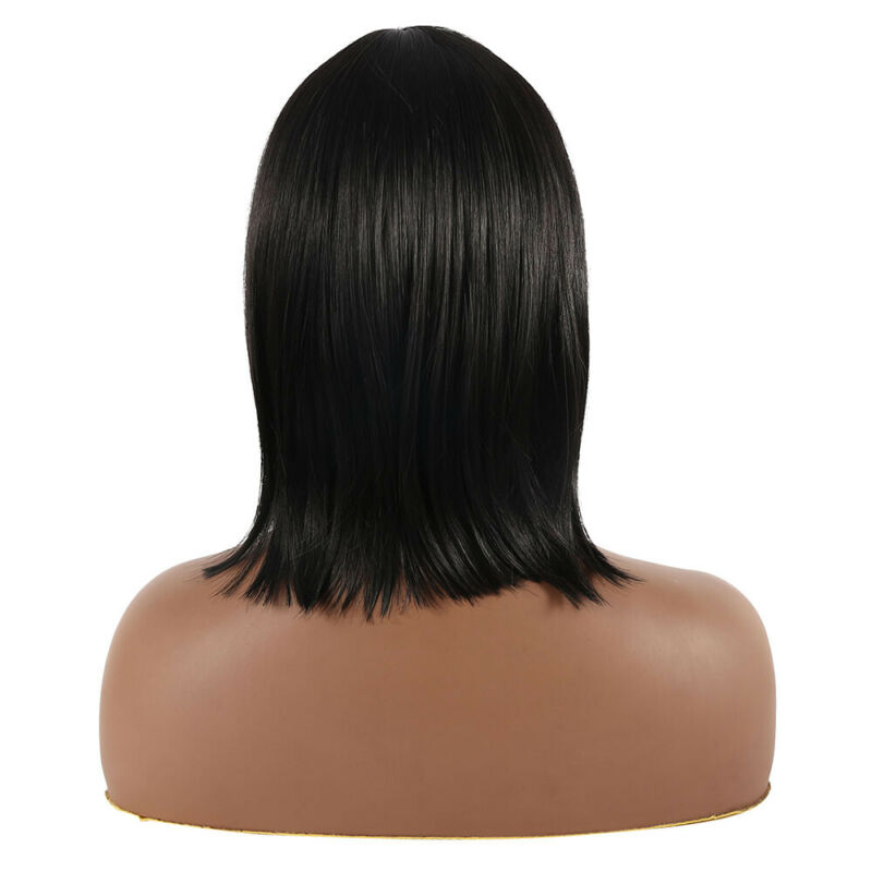 Femmes Black Style Bob Perruques Droites Cosplay Naturel Cheveux Courts G 4