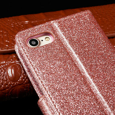 Bling Glitter Magnetic Flip Cover Stand Wallet Leather Case For iPhone 6s 5s 7 8 5