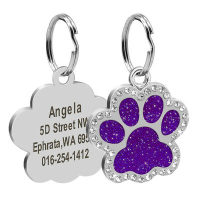 Personalized Dog Tags Engraved Puppy Pet ID Name Collar Tag Bling Paw Glitter 4