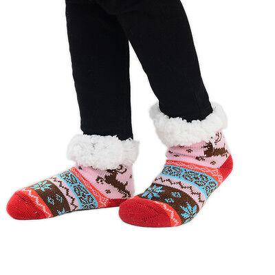 Childrens Kids Slipper Socks 1 Pair Fairisle Reindeer Multi Colours Size UK 9-12 4