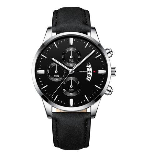 Fashion Sport Men's Stainless Steel Case Leather Band Quartz Analog Wrist Watch 6