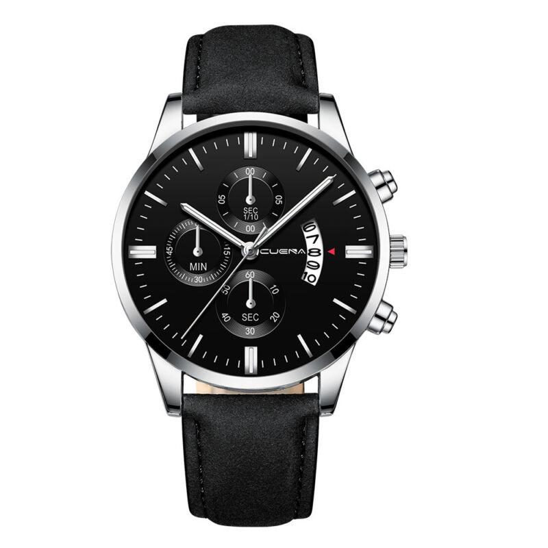 Fashion Sport Men's Stainless Steel Case Leather Band Quartz Analog Wrist Watch 3