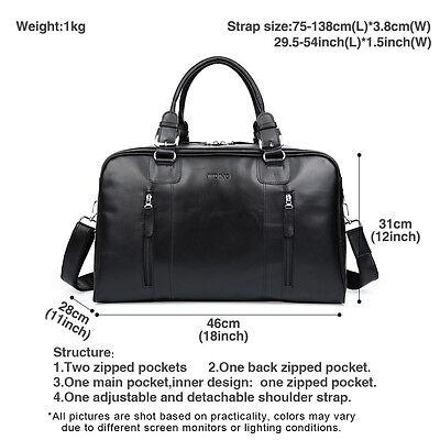 Black Mens Large Soft Nappa Leather Duffle Gym Shoulder Travel Bags