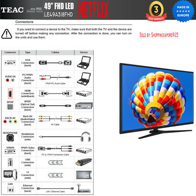 """TEAC 49"""" Inch FHD SMART TV Netflix Youtube Freevie Made In Europe 3Year Warranty 6"""