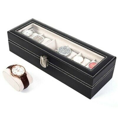 6 Grids Leather Watch Display Box Case Jewelry Collection Storage Organizer 8