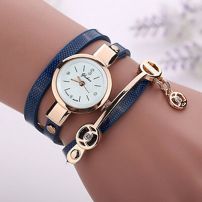 2016 Fashion Womens Ladies Watch Stainless Steel Leather Bracelet Wrist Watches 5