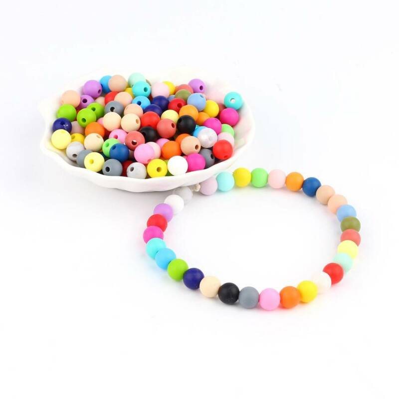 10Pcs 12mm Silicone Loose Beads Baby Teething Teether DIY Necklace Pacifier Clip 10