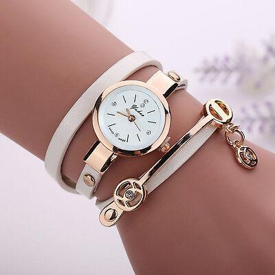 2016 Mode Femmes Montre Femmes acier inoxydable bracelet en cuir poignet montres 4