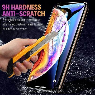 Apple iPhone XS Max XR X 10D Tempered Glass Screen Protector Full Cover 8 7 Plus 6