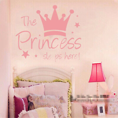 THE PRINCESS SLEEP Here Wall Stickers For Hoom Baby Girls Bedroom ...