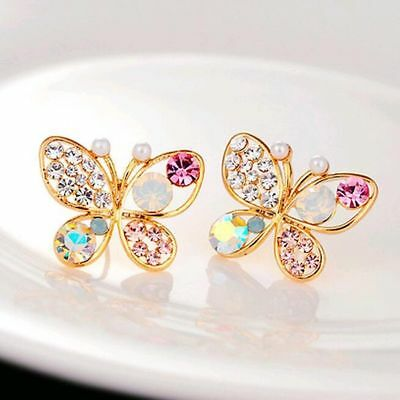 New 1 Pair Elegant Women Crystal Rhinestone Pearl Ear Stud Fashion Earrings Gift 9