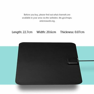 Super Thin Indoor Digital HD TV HDTV Antenna FM/VHF/UHF FREE TV Signals 50 Miles 4