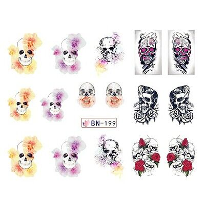 Nail Art Stickers Decals Transfers Gothic Skulls Halloween