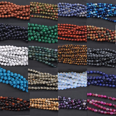 Wholesale NATURAL GEMSTONE Round Charms Loose Spacer BEADS 4MM 6MM 8MM 10MM 12MM 8