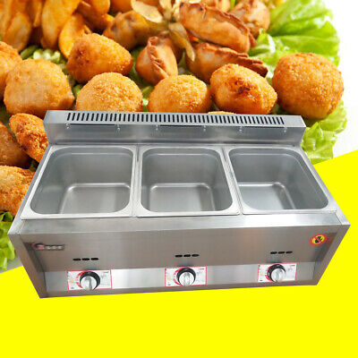 3 pan Gas Catering Food Warmer Steam Table Buffet Restaurant Gas Fryer 6Lx3 12