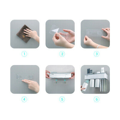 Toothpaste Toothbrush Holder Home Bathroom Wall Mount Stand Storage Rack,3 cups 7