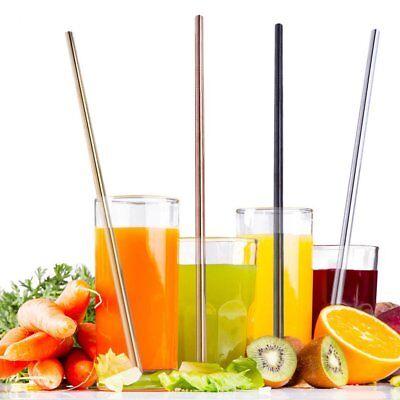 4 Pcs Stainless Steel Metal Drinking Straw Reusable Straws + Cleaner Brush Kit 4