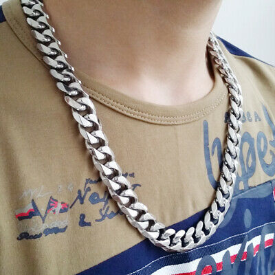 """8""""-40"""" Top 316L Stainless Steel Heavy Link Silver Curb Cuban Chain Men Necklace 5"""