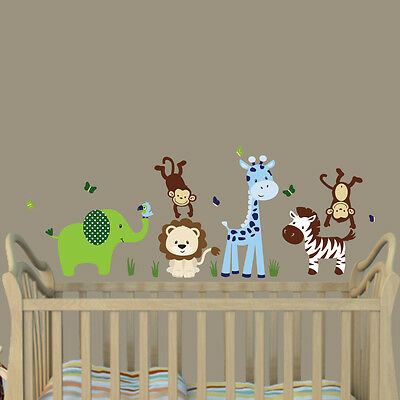 4 Of 10 Jungle Animal Decal Nursery Boys Room Wall Sticker Mural