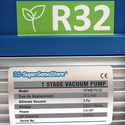3S POMPA del VUOTO MONOSTADIO 70 LT min PER GAS R32 R1234YF CLIMATIZZATORE NUOVA 3
